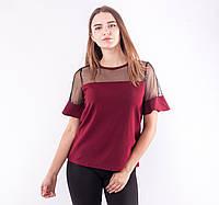 Лёгкая женская блузка со вставками из евросетки