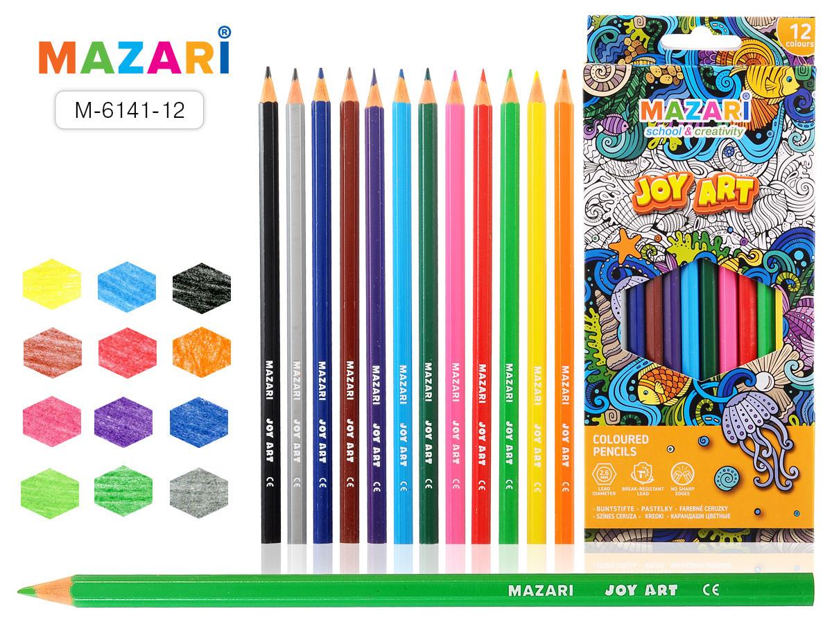 Карандаши цветные пластик. JOY ART, 12 цветов