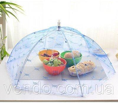 Зонтик- сетка для защиты продуктов от насекомых d65, h24 см малиновый