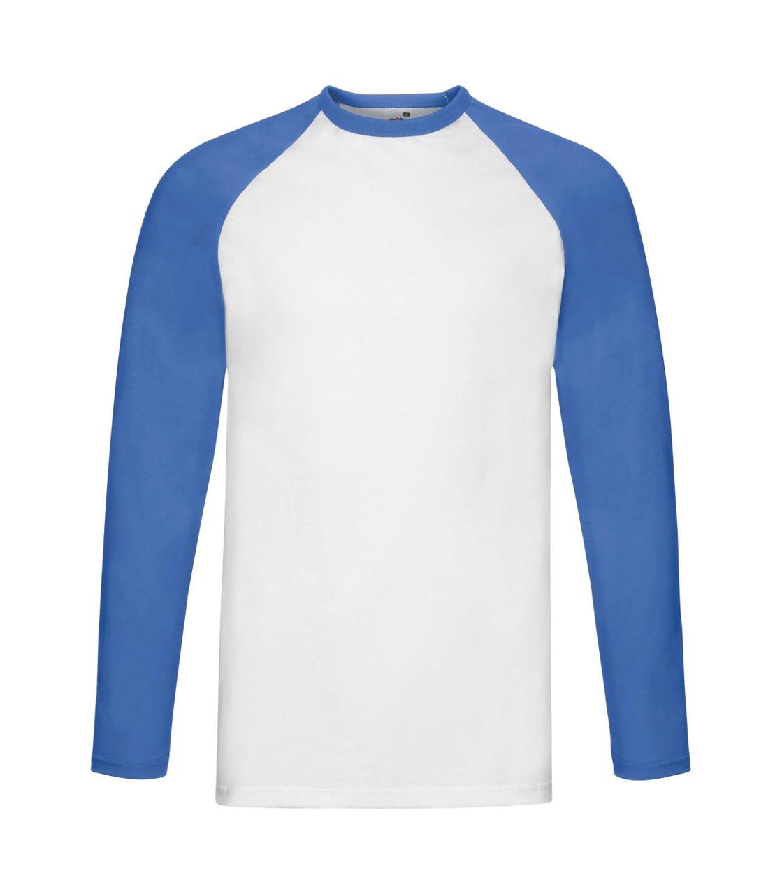 Мужская футболка с длинным рукавом бело-синяя 028-АW