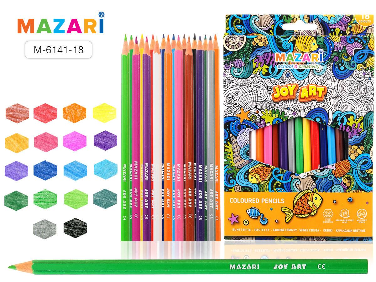 Карандаши цветные пластик. JOY ART, 18 цветов