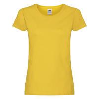 Річна жіноча бавовняна футболка під принт жовта