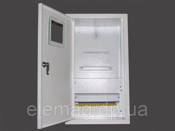 Шкаф под  электронный  счетчик+12 автоматов накладной