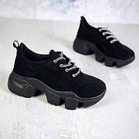 Стильные женские черные кроссовки на платформе
