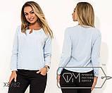 Блуза прямого кроя из софта с длинными рукавами, круглым вырезом и не съемным украшением на декольте,11 цветов, фото 3
