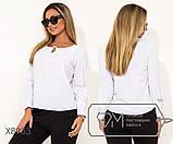 Блуза прямого кроя из софта с длинными рукавами, круглым вырезом и не съемным украшением на декольте,11 цветов, фото 7