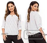 Блуза прямого кроя из софта с длинными рукавами, круглым вырезом и не съемным украшением на декольте,11 цветов, фото 8