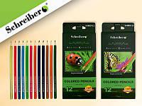 Набор цветных карандашей, 12 ЦВЕТОВ, деревянный корпус, шестигранные
