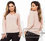 Блуза прямого кроя из софта с длинными рукавами, круглым вырезом и не съемным украшением на декольте,11 цветов, фото 9