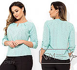 Блуза прямого кроя из софта с длинными рукавами, круглым вырезом и не съемным украшением на декольте,11 цветов, фото 10