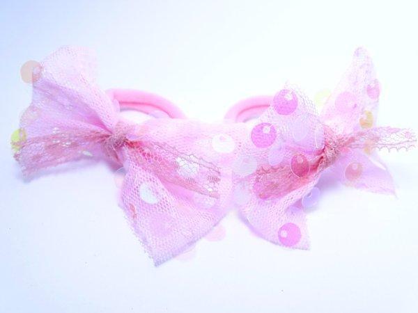 """Детские резинки пара """"Бантики в блестках нежность""""розовые"""