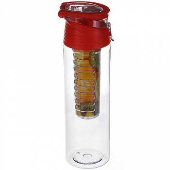 Бутылка для напитков Water Bottle с колбой под фруктов (малиновая)