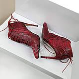 Женские красные ботильоны из натурального питона, фото 3