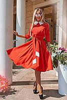 Красивое красное платье с контрастным воротником