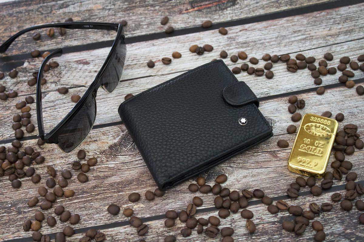 Кошелек кожаный Montblanc / Мужской кошелек из натуральной кожи