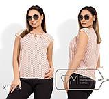 Блуза прямого кроя из софта с короткими рукавами, круглым вырезом и не съемным украшением на декольте,10цветов, фото 9
