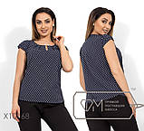 Блуза прямого кроя из софта с короткими рукавами, круглым вырезом и не съемным украшением на декольте,10цветов, фото 10
