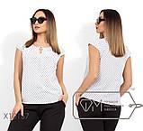 Блуза прямого кроя из софта с короткими рукавами, круглым вырезом и не съемным украшением на декольте,10цветов, фото 7