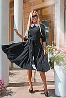 Красивое черное платье с контрастным воротником