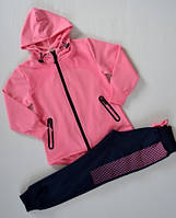 р.116 Спортивный костюм для девочки синий, розовый,спортивный детский костюм для девочки, фото 1