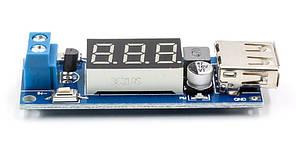 Авто зарядний пристрій USB з вольтметром, DC-DC вхід 4,5-40 V, вихід 5V2A