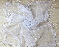 Хустка біла фатинова ажурна святкова  230-6
