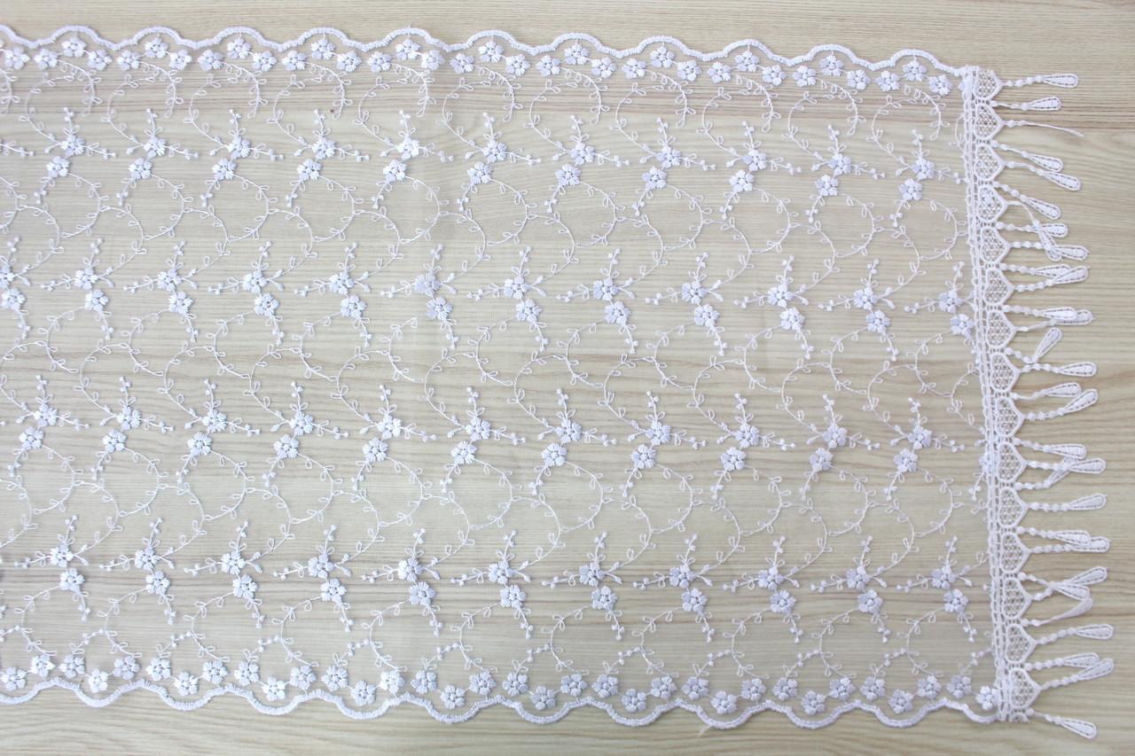 Шарф білий фатиновий ажурний святковий 150-4