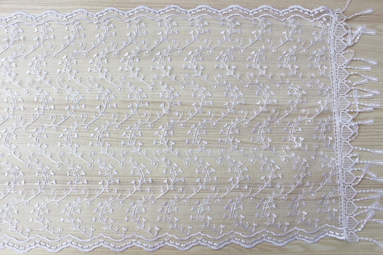 Шарф білий фатиновий ажурний святковий 150-5