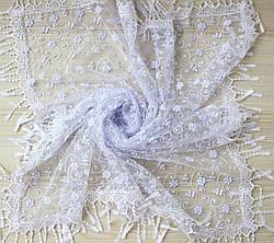 Хустка біла фатинова ажурна святкова 230-8