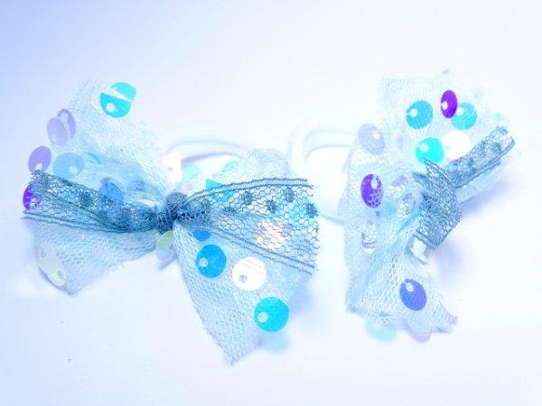 """Детские резинки пара """"Бантики в блестках нежность"""" голубые"""