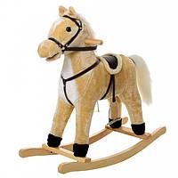 Лошадка-качалка музыкальная MP 0082 | Бежевого цвета