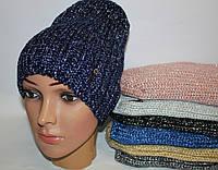 Вязаная шапочка с трендовым мерцанием, флис, полушерсть, рр 54-56