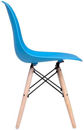 Стул Жаклин пластиковый Голубой с деревянными ногами, фото 2