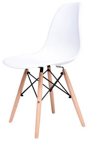 Стул Жаклин пластиковый Белый с деревянными ногами, фото 2