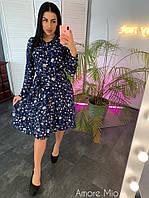 Осеннее платье - рубашка в цветочный принт с расклешенной юбкой и длинным рукавом r7303111