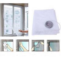 Антимоскитная сетка для окон с самоклеющейся крепежной лентой 130х150 см. (белая)