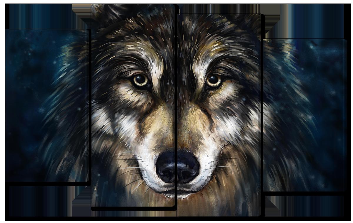Модульная картина Interno Холст Нарисованный волк 94x56см (R1672S)