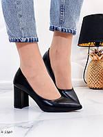 Женские туфли черные эко кожа каблук 8 см, фото 1