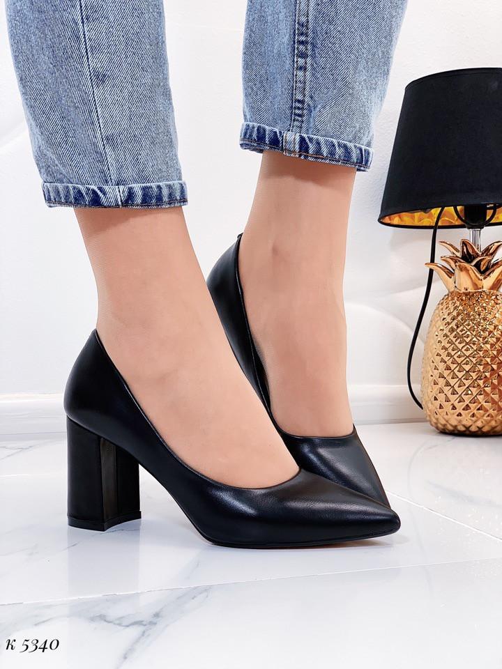 Женские туфли черные эко кожа каблук 8 см