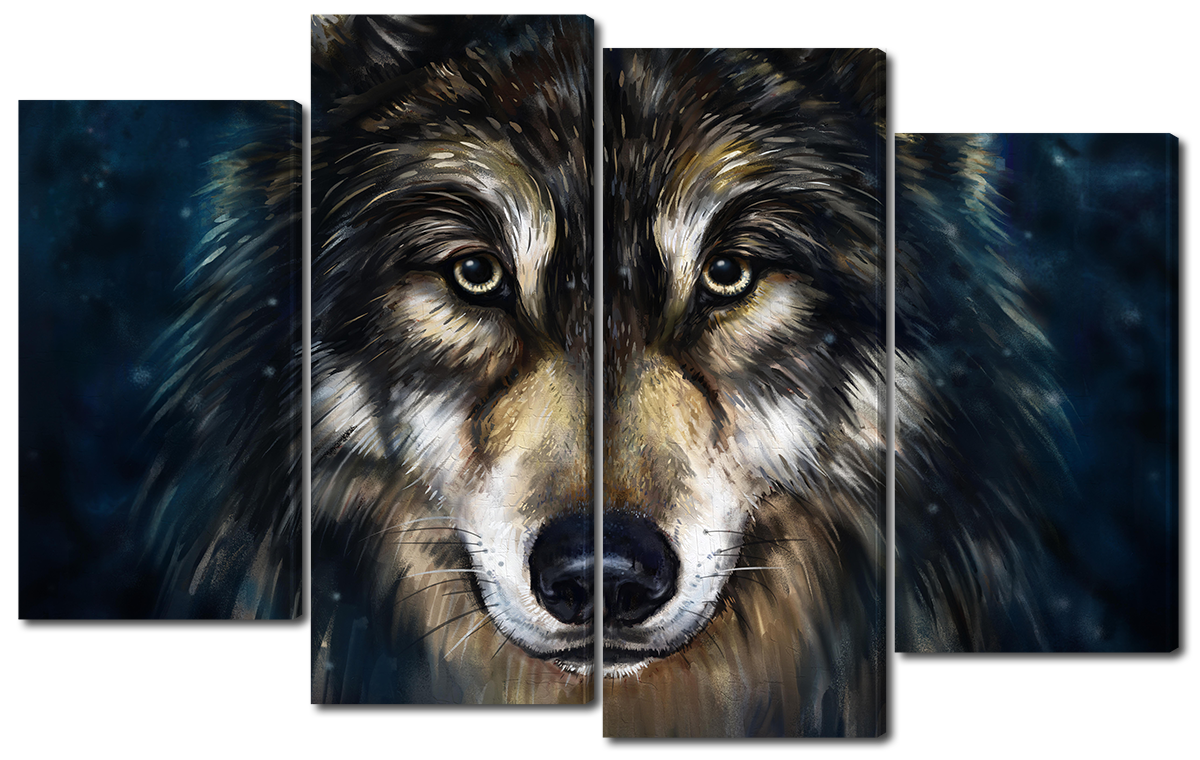Модульная картина Interno Эко кожа Нарисованный волк 114х69см (A1672М)