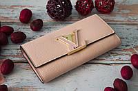 Женский клатч Louis Vuitton из натуральной кожи / Кошелек Луи Вюиттон розовый