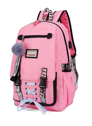 Школьный рюкзак HiFlash для девочек розовый, фото 2