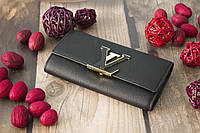 Женский клатч Louis Vuitton из натуральной кожи / Кошелек Луи Вюиттон черный