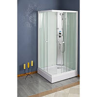 Гідромасажна душова кабіна ATLAS, 90x90x200 см, квадратна, прозора, біла