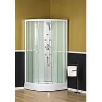 Гідромасажна душова кабіна  ATLAS, 90x90x200 см, напівкругла, прозора, біла