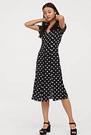 Легкое платье H&M черное в горох белый