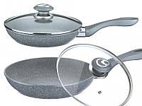 Сковорода с антипригарным гранитным покрытием с крышкой 24*5.5см BN-515