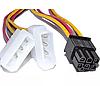 Переходник для видеокарты 2 по 4 pin MOLEX -> 6pin для PCI-E кабель