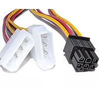 Переходник для видеокарты 2 по 4 pin MOLEX -> 6pin для PCI-E кабель, фото 1