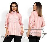 Льняная рубашка стояче-отложным воротником и укороченными рукавами на патиках, 2 цвета, фото 2